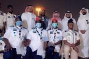 جمعية نور والكشافة توزيع الكمامات والقفازات وتعقيم الماره حول مجموعة المطاعم في نجران