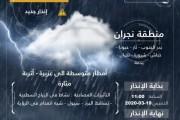 أمطار متوقعة على منطقة نجران  والدفاع المدني يحذر من النزول لمجاري الأودية والسيول
