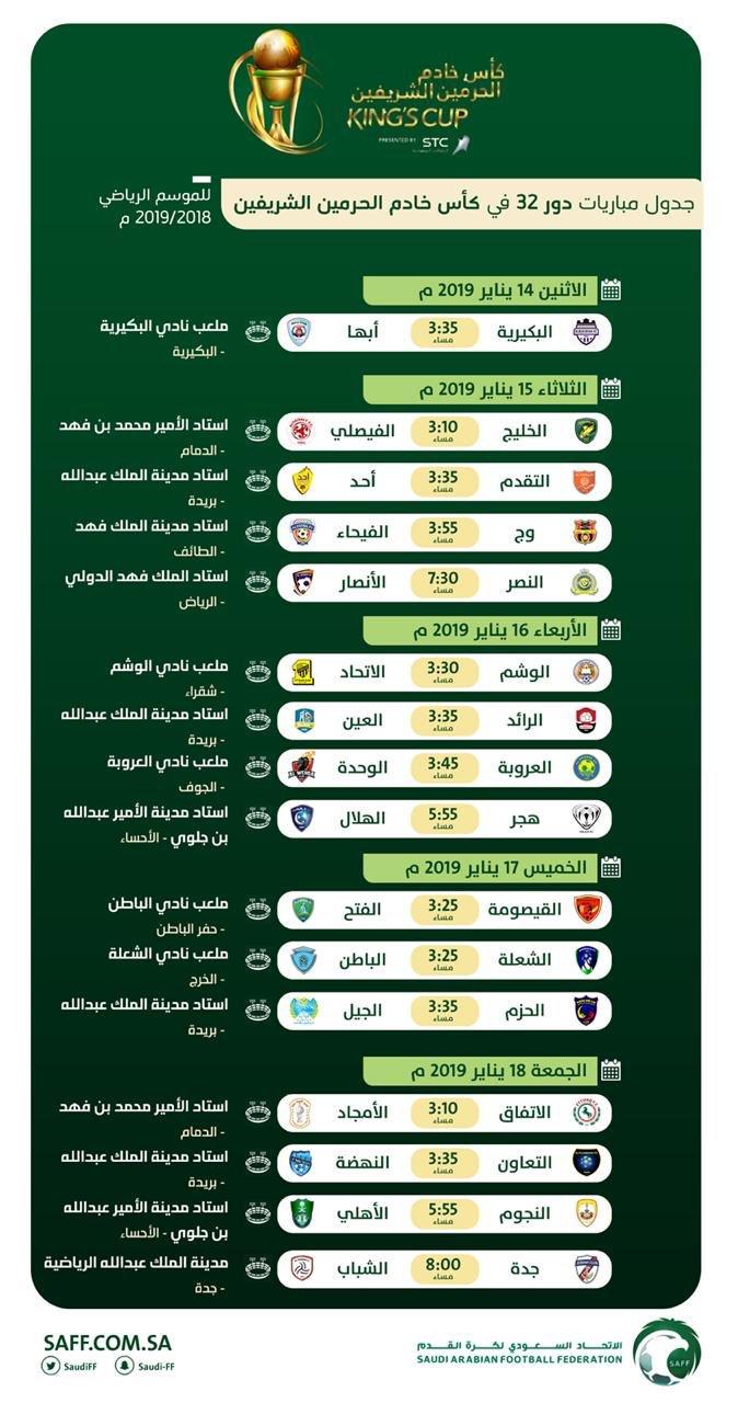 لجنة المسابقات باتحاد القدم تصدر جدول مباريات الدور الـ32 لكأس خادم الحرمين الشريفين