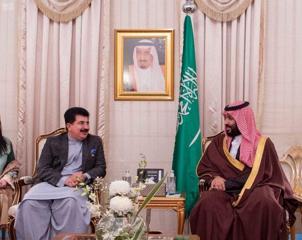 سمو ولي العهد يلتقي رئيس مجلس الشيوخ الباكستاني