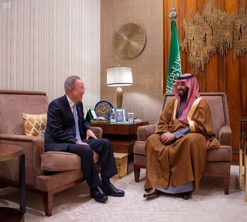 سمو ولي العهد يلتقي الأمين العام للأمم المتحدة السابق