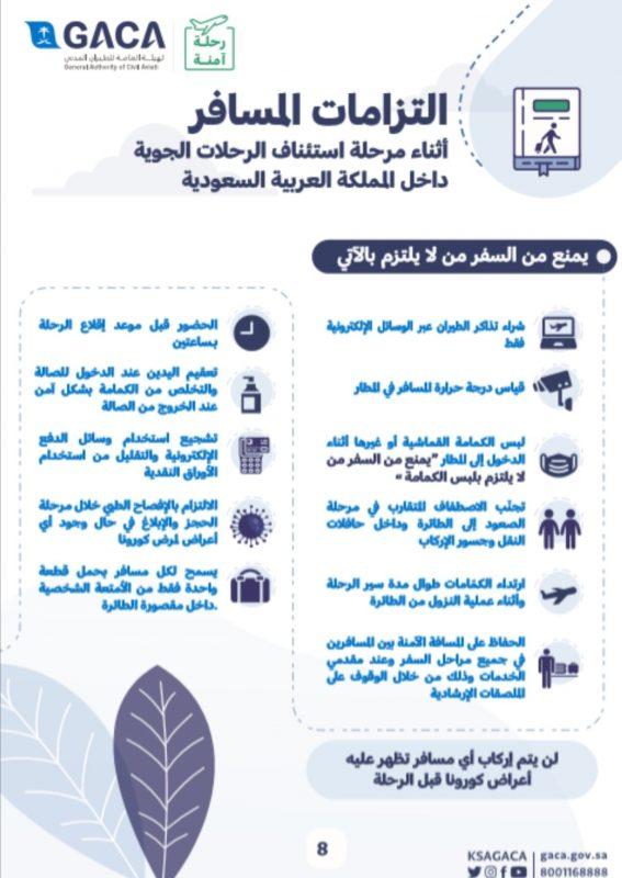 هيئة الطيران المدني تطلق الدليل الإرشادي للمسافر خلال مرحلة استئناف الرحلات الجوية الداخلية