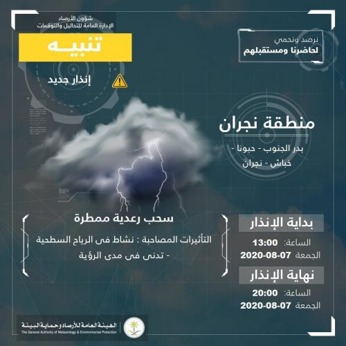 مدني نجران يدعو لتوخي الحذر واتباع ارشادات السلامة نتيجة التقلبات الجوية وتوقعات استمرار هطول الأمطار على المنطقة ومحافظاتها.