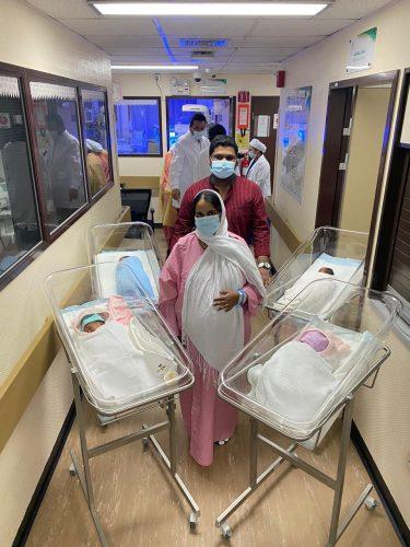ولادة قيصرية ناجحة لسيدة تضع 4 توائم في مستشفى شرورة العام