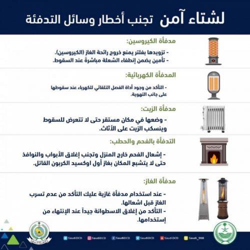 الدفاع المدني يدعوا للحذر أثناء استخدام وسائل التدفئة.